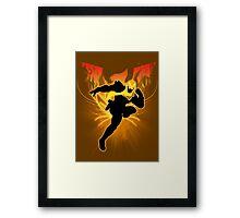 Super Smash Bros. Gold/Yellow Captain Falcon Silhouette Framed Print