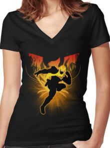 Super Smash Bros. Gold/Yellow Captain Falcon Silhouette Women's Fitted V-Neck T-Shirt