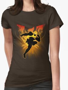 Super Smash Bros. Gold/Yellow Captain Falcon Silhouette Womens Fitted T-Shirt