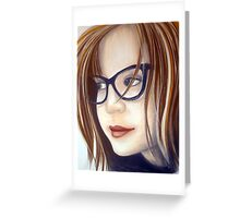 Thick Black Glasses - Lisa Greeting Card