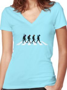 Turtle Road (Black and White) Women's Fitted V-Neck T-Shirt