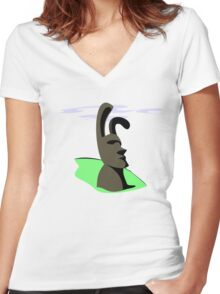Easter Island Women's Fitted V-Neck T-Shirt