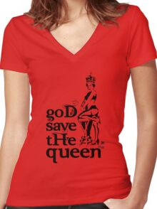 Hot Queen stencil, God save the queen Women's Fitted V-Neck T-Shirt