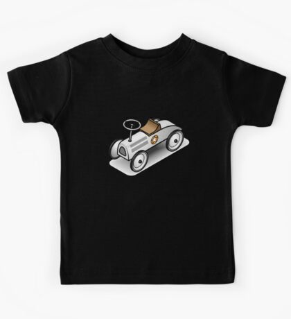 A retro vintage race cart. WIth drop shadow for a white shirt only. Kids Tee