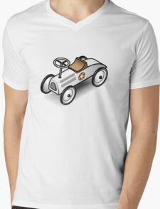 A retro vintage race cart. WIth drop shadow for a white shirt only. Mens V-Neck T-Shirt