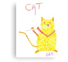 Yellow Cat Playing Flute Canvas Print