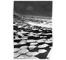 Giants Causeway in B&W Poster