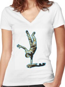 Skateboard Handstand 1970 Women's Fitted V-Neck T-Shirt