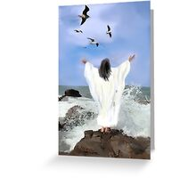 Christ by the ocean Greeting Card