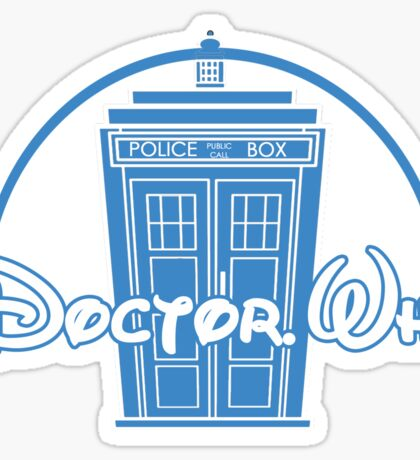 """Doctor Who"" Tardis Police Box Disney Logo Style Spoof Sticker"