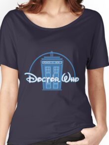 """Doctor Who"" Tardis Police Box Disney Logo Style Spoof Women's Relaxed Fit T-Shirt"