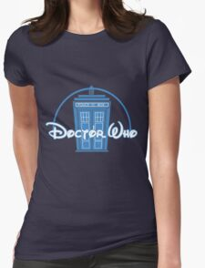 """""""Doctor Who"""" Tardis Police Box Disney Logo Style Spoof Womens Fitted T-Shirt"""