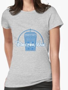 """Doctor Who"" Tardis Police Box Disney Logo Style Spoof Womens Fitted T-Shirt"