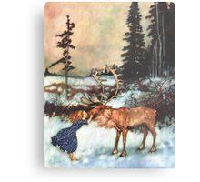 Reindeer Kiss christmas design Metal Print