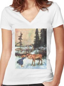 Reindeer Kiss christmas design Women's Fitted V-Neck T-Shirt