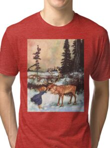 Reindeer Kiss christmas design Tri-blend T-Shirt