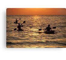 Kayaking at Sunset Palolem Canvas Print
