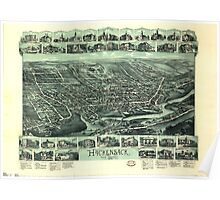 Panoramic Maps Hackensack New Jersey Poster