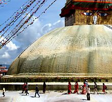 Circumambulating the Stupa Boudha by SerenaB