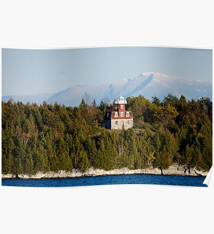 Valcour Island, Bluff Point Light, and Mount Mansfield Poster