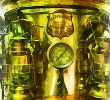 Steampunk - Gauge and Two Brass Lanterns on Fire Truck by Susan Savad