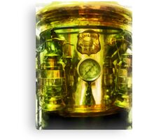Steampunk - Gauge and Two Brass Lanterns on Fire Truck Canvas Print
