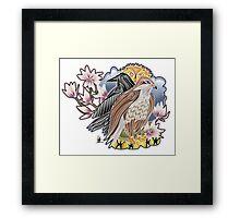 lady hawk and crow Framed Print