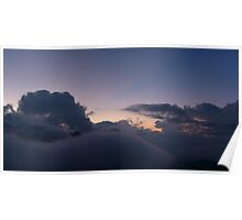 First Hint of Sunrise through Clouds at Poon Hill Poster