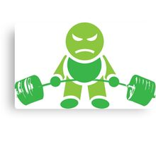 Cute Weightlifting Cartoon Robot (Deadlift) Canvas Print