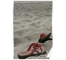Flips flops in the sand Poster