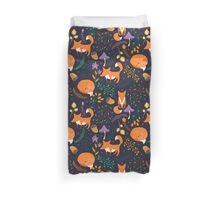 Foxes in magic forest Duvet Cover