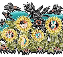 crows and sunflowers by arteology