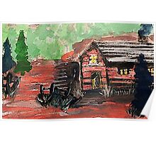 Cabin in the woods, watercolor Poster