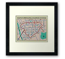 Springfield Subway System Map Framed Print
