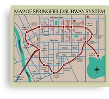 Springfield Subway System Map Canvas Print