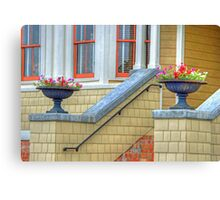 welcoming flower pots-house entrance Canvas Print