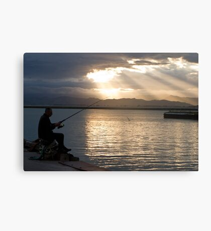 fisherman in the dusk Canvas Print