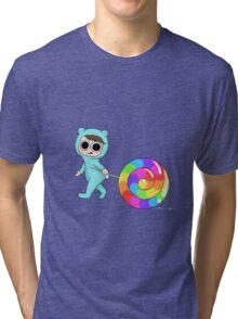 Blue Bear loves candy Tri-blend T-Shirt