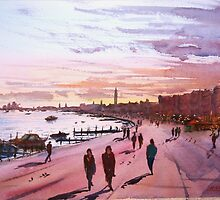 Evening promenade on the Venice waterfront by Hugh Cross