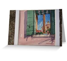 Venetian morning - window on the canal Greeting Card