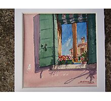 Venetian morning - window on the canal Photographic Print
