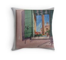 Venetian morning - window on the canal Throw Pillow