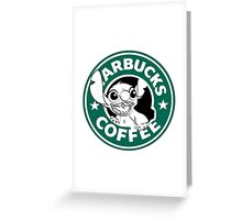 No more coffee for you - Stitch Starbucks logo Greeting Card