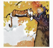 sleeping calvin and hobbes Kids Clothes