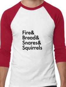 Fire& bread& snares &squirrels....(BLACK) Men's Baseball ¾ T-Shirt