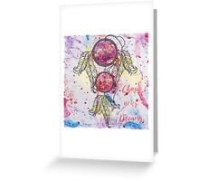 """Watercolor sketch Dreamcatcher """"Chase your Dreams"""" quote Greeting Card"""