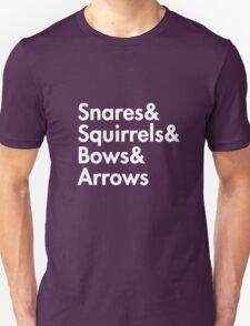 Snares& squirrels& bows& arrows....(WHITE FONT SHIRT) T-Shirt