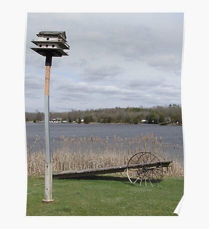 Bird House & Wagon Poster