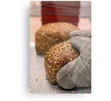 Freshly baked loaf of bread at a bakery.  Metal Print