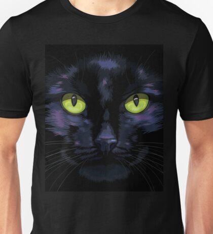 Black cat with green eyes Unisex T-Shirt